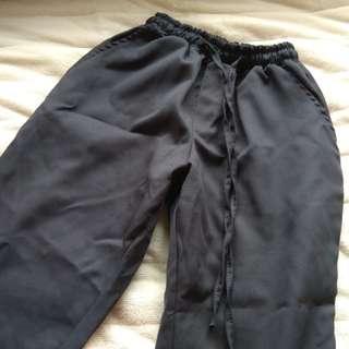 🚚 深灰色西裝布料抽繩長褲