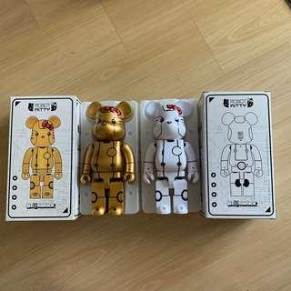 Hello Kitty Kitty Robot Be@rbrick bearbrick gold and white 400%