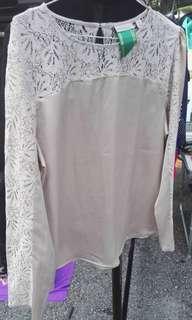 Eva Mendes New York Company Lace Satin Blouse