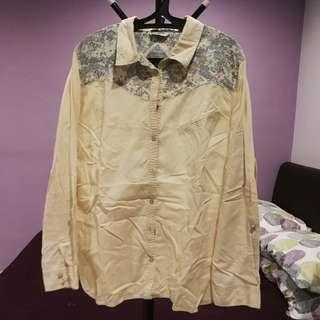 Marks & Spencer Indigo Collection shirt blouse cream with pastel flowery UK18 EUR46 (n/p rm256)