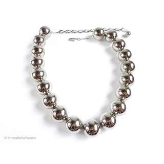 Vintage 1960s Chunky Silvertone Beaded Necklace, nk654