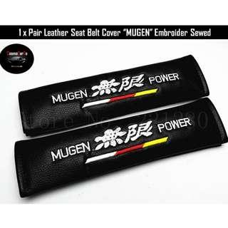 1 Pair Leather Seat Belt Cover MUGEN Sewed Embroidered