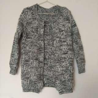 🚚 質感混色編織無釦厚毛衣外套