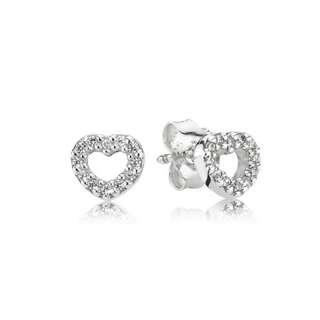f0c6da1aa Pandora Earrings Sparkling Heart Stud Earrings Italy 92.5 Sterling Silver