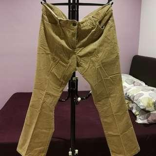 Marks & Spencer Corduroy light brown pants size UK 16 bootleg short cut