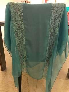 Arzu beautiful with lace long scarves beautiful pastel green