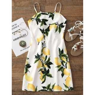 Lemon Tied Printed Cut Out Mini Dress