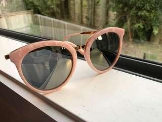 Pink shell frame mirror lens sunglasses retail price $200