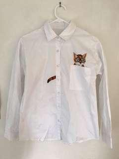 Korean fashion cat embroidered button up shirt