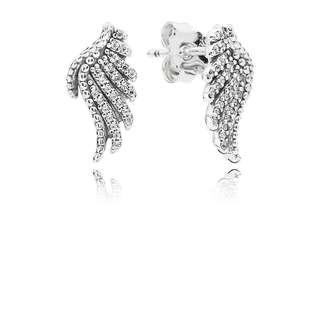 Pandora Earrings Phoenix Feather Silver Stud Earrings with Clear Cubic Zirconia Italy 92.5 Sterling Silver