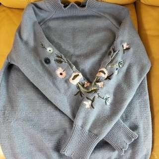 聖誕放送‼️繡花冷毛衣上衣48*60cm全新一樣