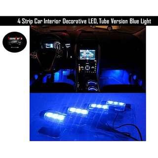 4 Strip Car Interior Decorative LED Blue Tube Atmosphere Light Set, Neon Glow Decor Lights, Socket Charger