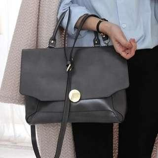 Black leather bag for work