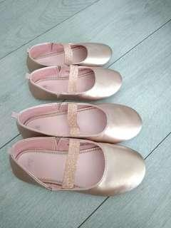 H&M gold rose strap shoes eur 28 and 33