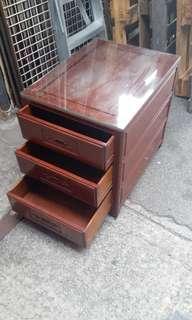 花梨木三桶櫃$1300, 九成新連玻璃,好重