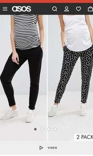 ASOS DESIGN Maternity 2 pack jersey peg trousers in plain black and spot print