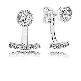 Pandora Earrings Abstract Elegance Stud Earrings with Clear Cubic Zirconia Italy 92.5 Sterling Silver