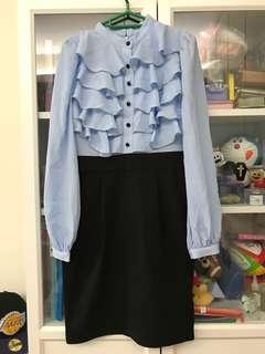韓國層層荷葉邊連身裙