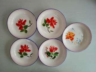 New Old Stock Enamel Plate With Floral Diameter 21cm Unused 5pieces $35