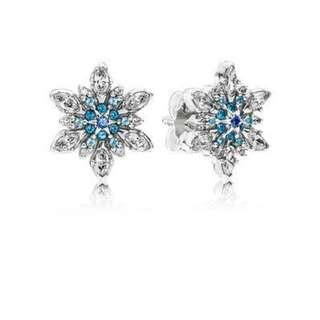Pandora Earrings Snowflake Silver Stud Earrings with Mixed Blue Shades of Crystal and Clear cubic Zirconia Italy 92.5 Sterling Silver
