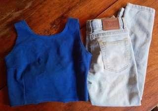 ORIGINAL MOSSIMO PANTS (Waist 24in/27in length)and Croptop Blue Blouse
