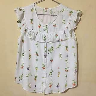 Korean Brand Sleeveless Frilly Floral Top