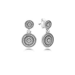 Pandora Earrings Radiant Elegance Drop Earrings, Clear CZ Italy 92.5 Sterling Silver