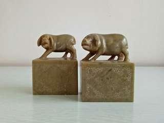 Pig of the year a pair of shou shan stone carving height 9cm length 6.5cm perfect condition $90