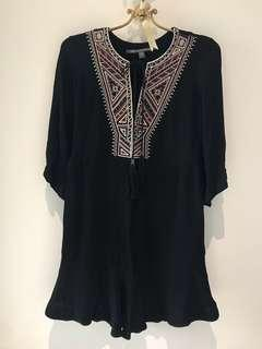 Twelfth Street by Cynthia Vincent Embroidered Long Sleeve Black Dress