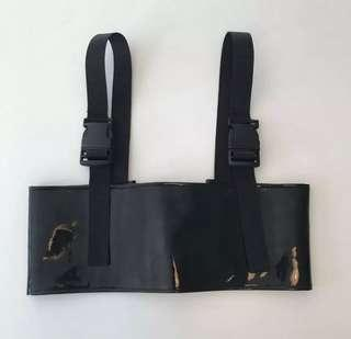 Black PU pvc leather buckle crop ⛓