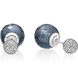 Pandora Earrings Midnight Blue Shimmering Drops Stud Earrings Italy 92.5 Sterling Silver
