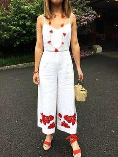 Club Monaco White Jumpsuit with Red Embroidery