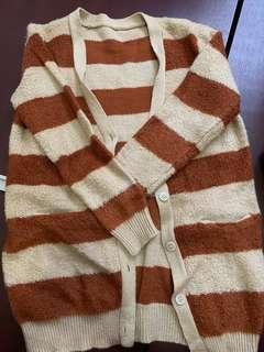啡針織間條開衫