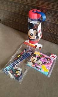 Mickey mouse water bottle and stationery set