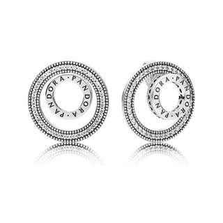 Pandora Earrings Forever Pandora Signature Stud Earrings With Clear CZ Italy 92.5 Sterling Silver