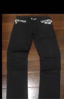 韓版 民族風 窄版長褲 色褲