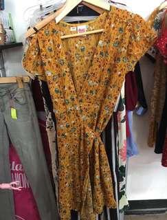 Mustard Floral Wrap Dress Jukaykay