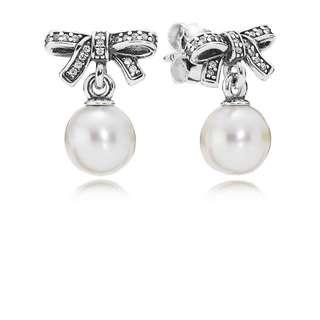 Pandora Earrings Bow Silver Earrings with Pearl and Clear Cubic Zirconia Italy 92.5 Sterling Silver