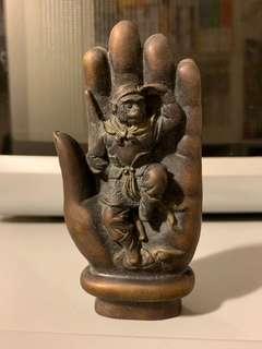 90年代 中國成都購入 青銅製西遊記-齊天大聖孫悟空《如來佛手》擺設
