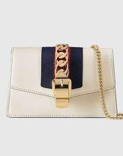 Gucci 古馳Sylvie Super Mini 494646 Chain Bag 斜背皮革鏈帶包(現貨一只)