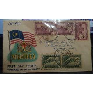 First Day Cover Malaya Merdeka 1957 with Stamps