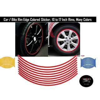 One Set 18 Pcs Reflective Colour Rim Sticker Tape Strip Trendy For 14 to 17 Inch Rims