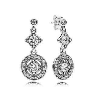 Pandora Earrings Vintage Allure Drop Earrings, Clear CZ Stud Earrings Italy 92.5 Sterling Silver