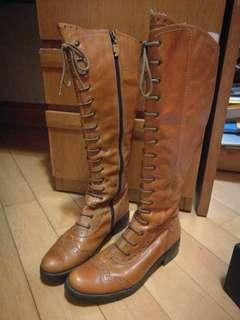 leather long boots vintage Oxford 牛皮 復古 牛津 靴