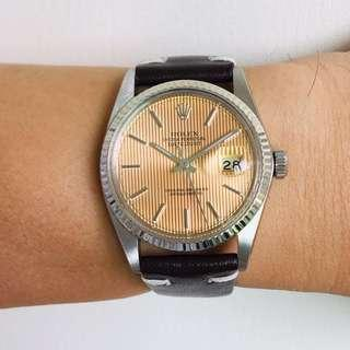 SOLD ! Rolex 16014 Oyster Perpetual Datejust Tapestry salmon colour Dial Solid white gold Bezel
