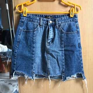Something Borrowed Distressed/ Ripped Denim Skirt