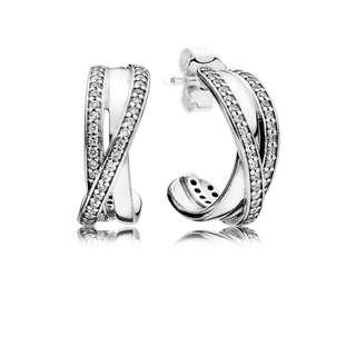Pandora Earrings Entwined Hoop Earrings with Clear cubic Zirconia Stud Earrings Italy 92.5 Sterling Silver