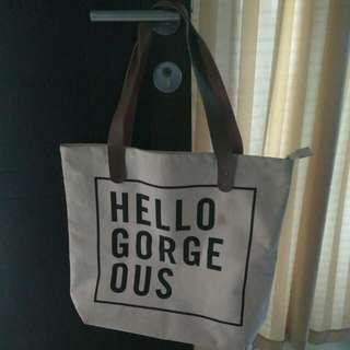 Tote Bag Canvas With Leather Shoulder Strap