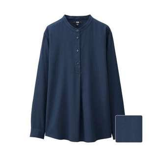 Uniqlo Rayon Stand Collar Long Sleeve Blouse