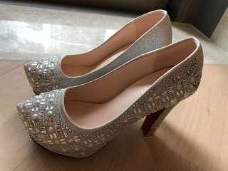 超靚 銀色高跟鞋 High heels 晚宴 新娘 Annual dinner Christmas party